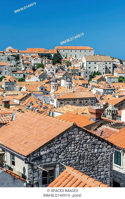 Rooftops of city on hillside, Dubrovnik, Dubrovnik-Neretva, Croatia