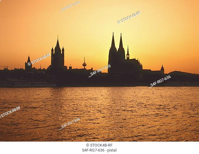 Silhouette of Cologne at sunset, North Rhine-Westphalia, Germany