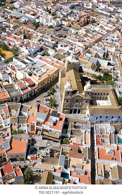 aerial view Puebla de Cazalla, Seville Andalusia, Spain Europe