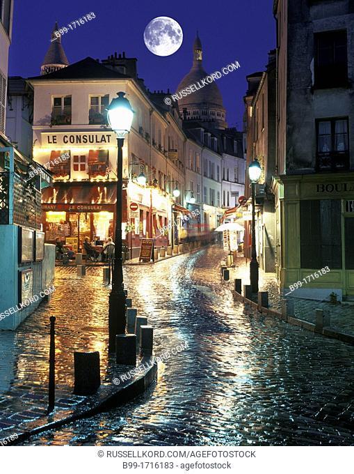 Street Scene Outdoor Cafes Rue Le Pic Montmartre Paris France