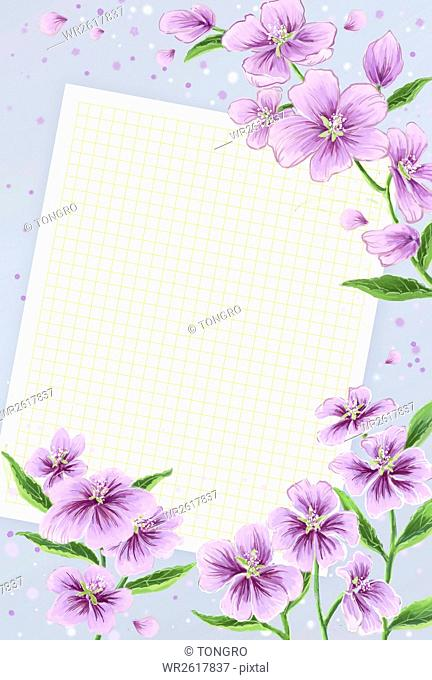 Spring flowers with squared paper