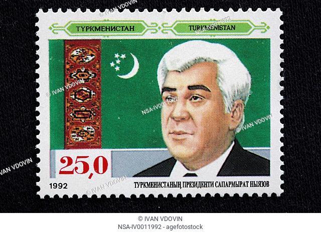 Saparmurat Niyazov, President of Turkmenistan 1991-2006, postage stamp, Turkmenistan, 1992