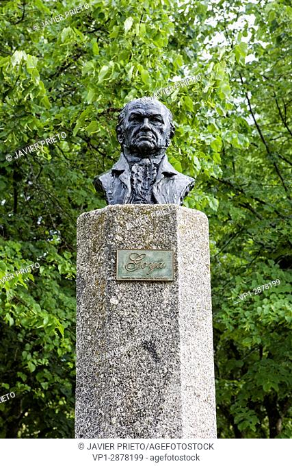 Bust of the painter Francisco de Goya in the Gardens of the Ducal Palace of Piedrahita. Piedrahiita. Valley of the Corneja. province of Avila