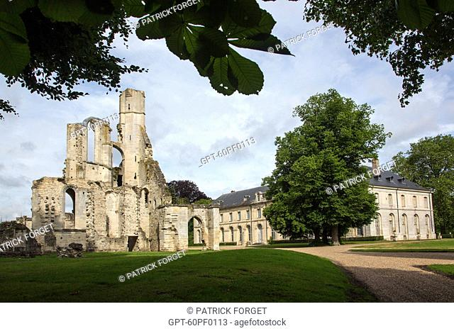 RUINS OF THE 13TH CENTURY ABBEY CHURCH AND THE MUSEUM OF THE JACQUEMART-ANDRE FOUNDATION HOUSED IN THE CHATEAU, ESTATE OF THE ROYAL ABBEY OF CHAALIS