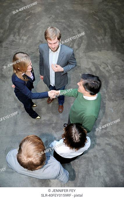 Overhead view of business people