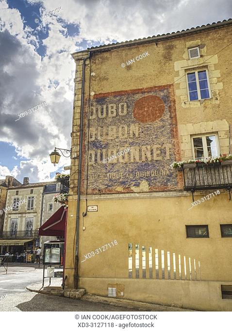 faded sign on stone wall, Place dâ. . Armes, Belves, Dordogne Department, Nouvelle-Aquitaine, France