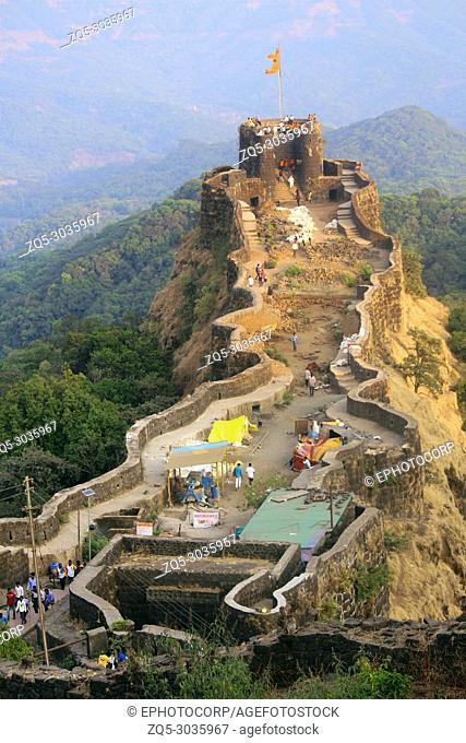 Aerial view of Pratapgad fort, Satara. Pratapgad literally Valour Fort is a large fort located in Satara district, in the Western Indian state of Maharashtra