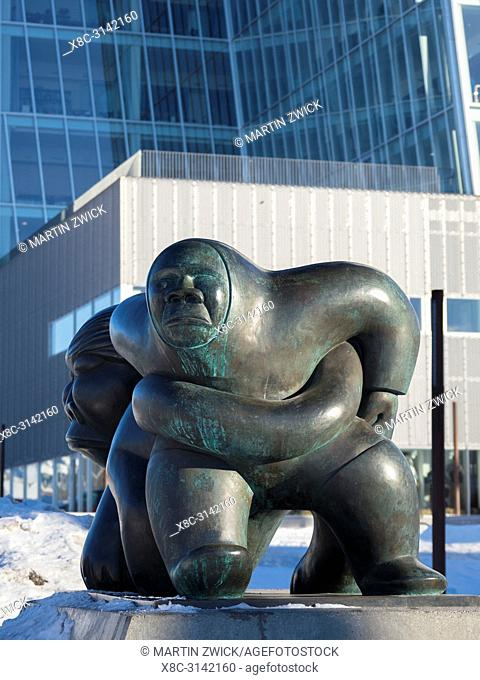 Sculpture Kaassassuk by Simon Kristoffersen. Landmark and symbol of the greenlandic idendity as a country. Nuuk, the capital of Greenland