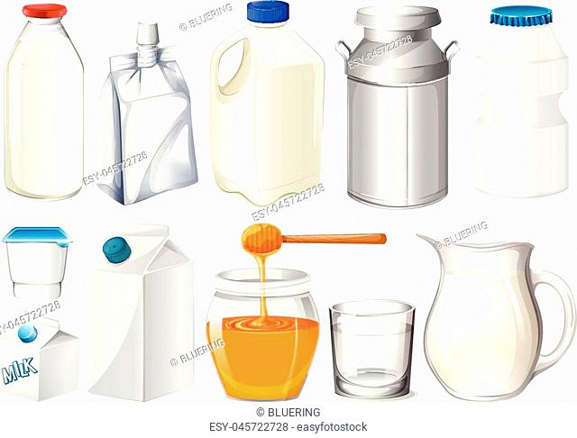 Set of bottles and jars illustration