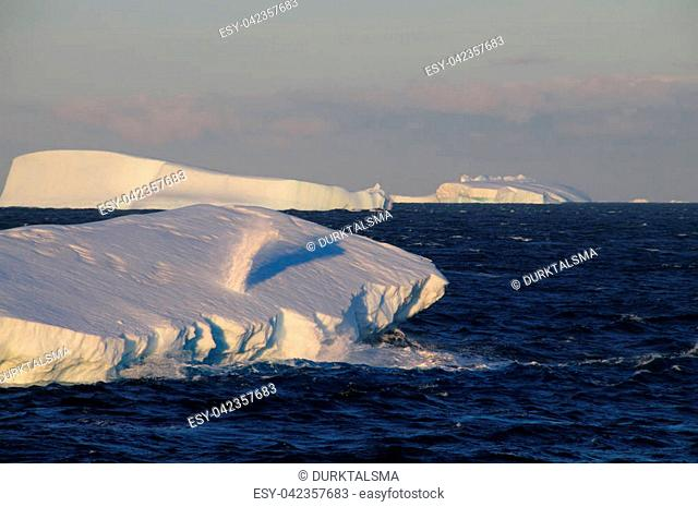 Giant tabular icebergs floating in the Weddell Sea, in Antarctica