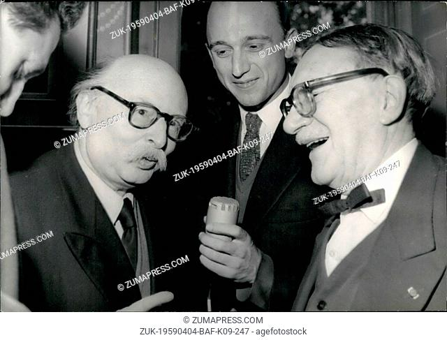 Apr. 04, 1959 - Jean Rostand elected member of the French academy: Jean Rostand (left) the famous French Biologist, elected member of the French academy