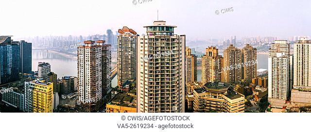 Chongqing, China - The panorama of skyscrapers at Yuzhong Peninsula