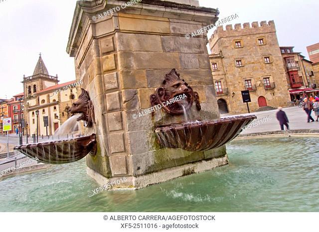 Statue Fountain King Pelayo, Revillagigedo Palace, Square of Marqués, Plaza del Marqués, Cimadevilla Old Town, Gijón, Asturias, Spain, Europe