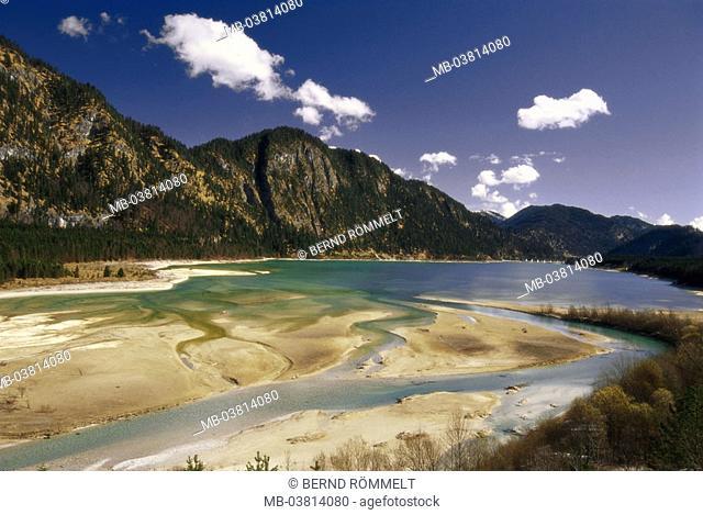 Germany, Upper Bavaria,  Sylvensteinspeicher,   Southern Germany, Bavaria, alpine upland, Isar corners, sea, Sylvensteinstausee, reservoir, Sylvenstein