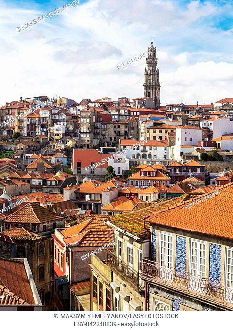Aerial view of old town of Porto. Portugal