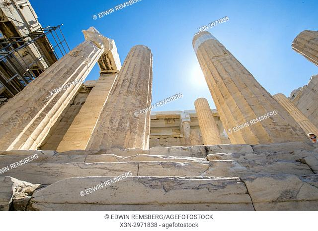 Athens Greece- Historic ruins of the ancient Acropolis - the Propylaea