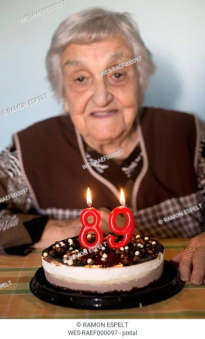 Old woman celebrating her 89th birthday
