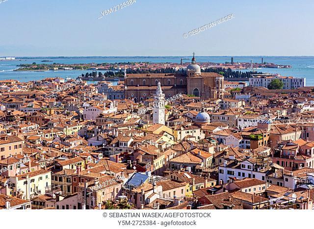 Venice, aerial view from the Campanile di San Marco, Venice, Veneto, Italy, Europe