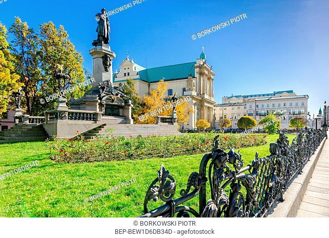 WARSAW, MAZOVIAN PROVINCE / POLAND - OCTOBER 31, 2018: Adam Mickiewicz memorial, Carmelite Church, Krakowskie Przedmiescie street, part of the Royale Route