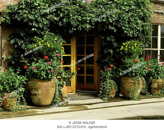 Front entrance with large pots and urns filled with ivy, zinnias and flowers daisies, potter's studio and vines cover entrance