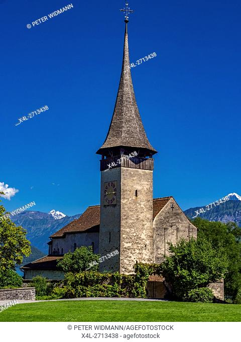 Castle Church Spiez Castle, Lake Thun, Bernese Oberland, Bern, Switzerland, Europe