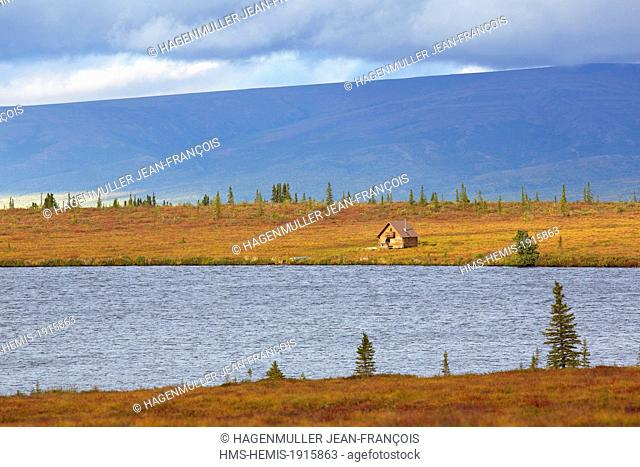 United States, Alaska, Denali National Park, cabin at Eightmile lake