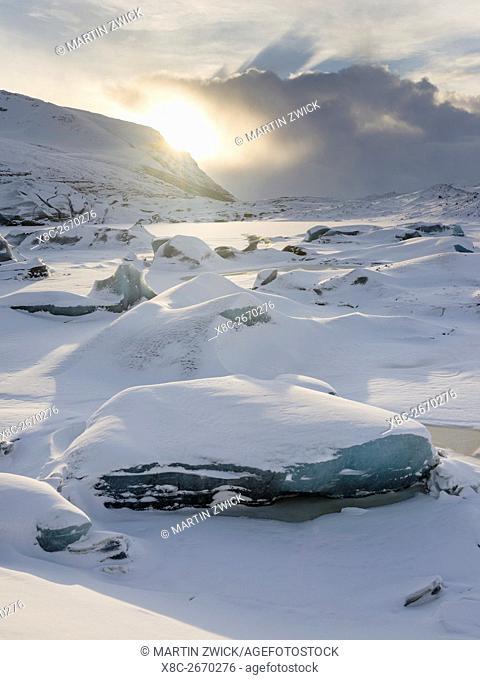 Glacier Svinafellsjoekul in the Vatnajoekull NP during winter. The frozen glacial lake with icebergs. europe, northern europe, iceland, February