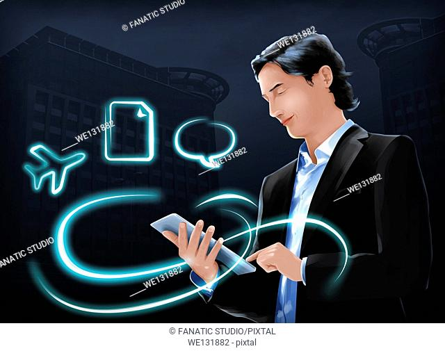 Illustration of businessman using internet on digital tablet