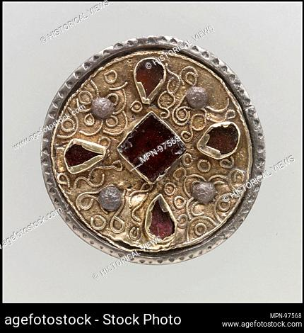 Disk Brooch. Date: 7th century; Culture: Frankish; Medium: Silver, coated with gold, paste; Dimensions: Overall: 1 1/8 x 3/8 in. (2