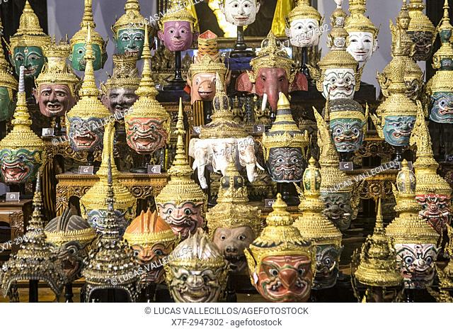 Display of thai Khon Masks, Exhibition Throne Hal,l National Museum, Bangkok, Thailand