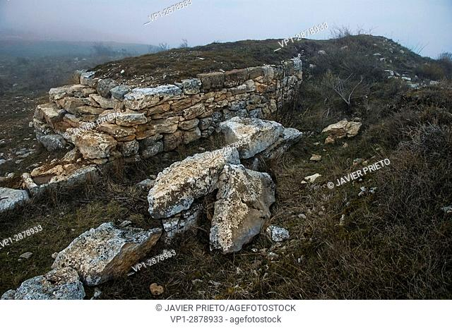 Remains of walls in Castro Cildá. The Las Loras World Geopark. UNESCO Global Geopark. Nearby Olleros de Pisuerga. Palencia. Castilla y León. Spain