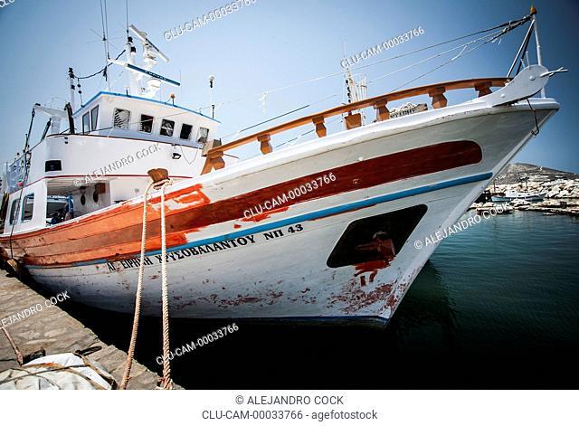 Boats in Parikia in Paros, Greece, Western Europe