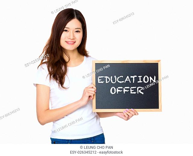 Woman with the chalkboard showing education offer