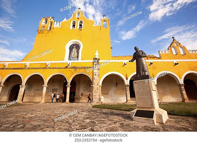 Statue of Pope John Paul II Abbey in the Monastery-Convent Of San Antonio De Padua, Izamal, Yucatan, Yucatan Province, Mexico, North America