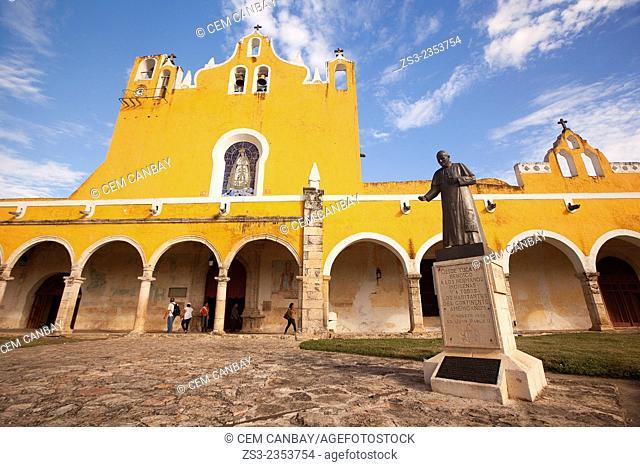 Statue of Pope John Paul II Abbey in the Monastery-Convent Of San Antonio De Padua, Izamal, Yucatan, Yucatan Province, Mexico, North America