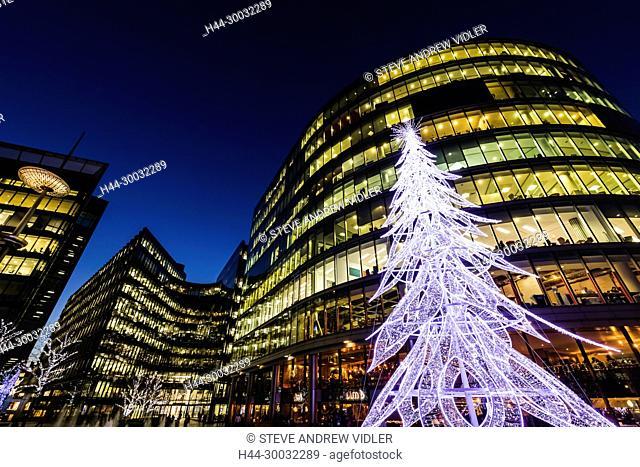 England, London, Southwark, London Bridge City, Christmas Tree and More London Riverside Complex