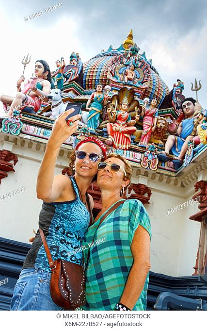 Tourist in Sri Mariamman hindu temple. Chinatown district. Singapore, Asia