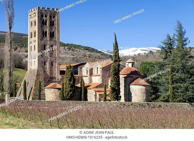 France, Pyrenees Orientales, Codalet, the Benedictine abbey of Saint Michel de Cuxa