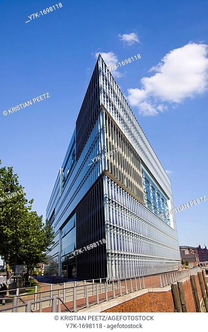 View of the modern ZDF German Television Building in the Deichtorcenter in Hamburg, Germany
