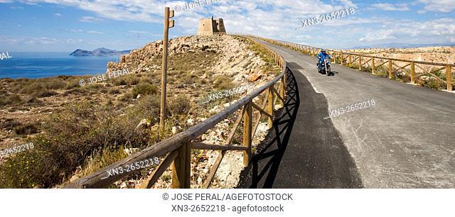 Motorcycle driving, Watchtower of Mesa Roldan, Mediterranean Sea, Cabo de Gata-Nijar Biosphere Reserve, Natural Park, Almeria province, Andalucia, Spain, Europe