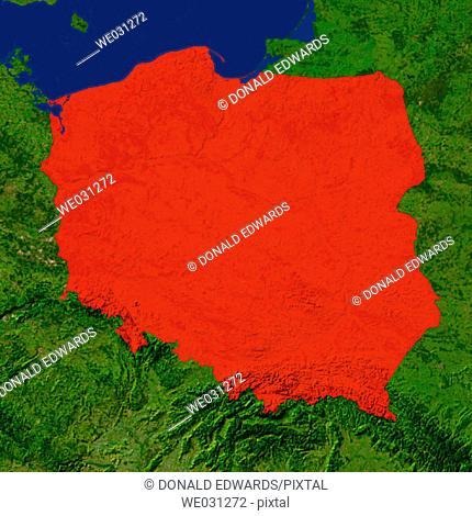 Highlighted satellite image of Poland