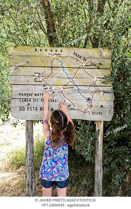 A young girl - about five years old - points on a wooden map. Signage of the River Path. Canyon de Río Lobos Natural Park. Soria. Castilla y León