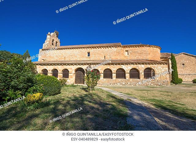 portico and church of Nuestra Senora de la Natividad, Our Lady of the Nativity, from thirteenth century, in Santa Maria de Riaza, next Ayllon town, Segovia