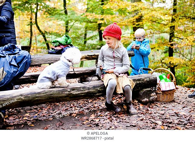 Girl sitting with Bichon Frise sitting on log in forest