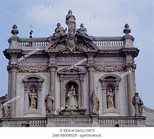 Neo-Baroque facade of the Basilica of Our Lady of the Rosary, 1913-1920, by Lamberto Cusani, Fontanellato, near Parma, Emilia-Romagna