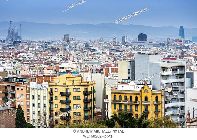 View Barcelona city skyline from the Museum of Arts on mount montjuich. Catalonia, Spain. Europe
