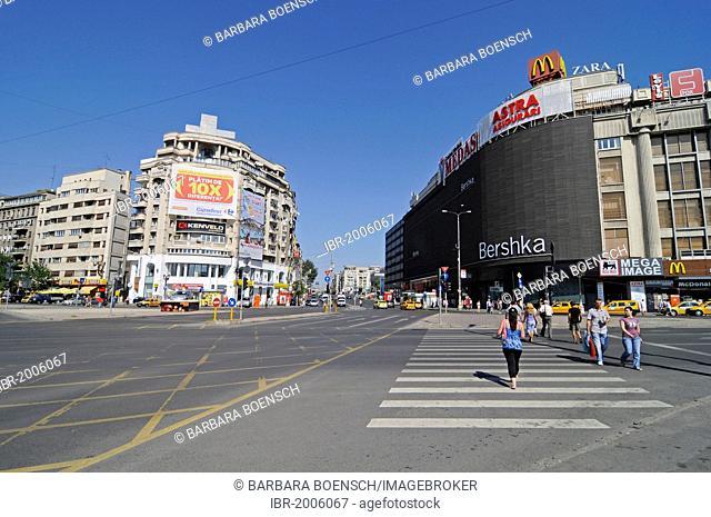 Shopping centre, street scene, billboards, Piata Unirii square, Bucharest, Romania, Eastern Europe, Europe, PublicGround