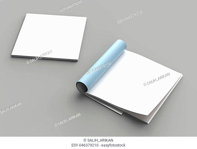 Square magazine, brochure or catalog mock up isolated right page on gray background. 3d illustration