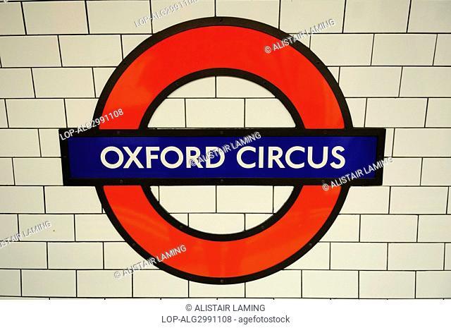 England, London, Oxford Circus. Oxford Circus Underground station symbol