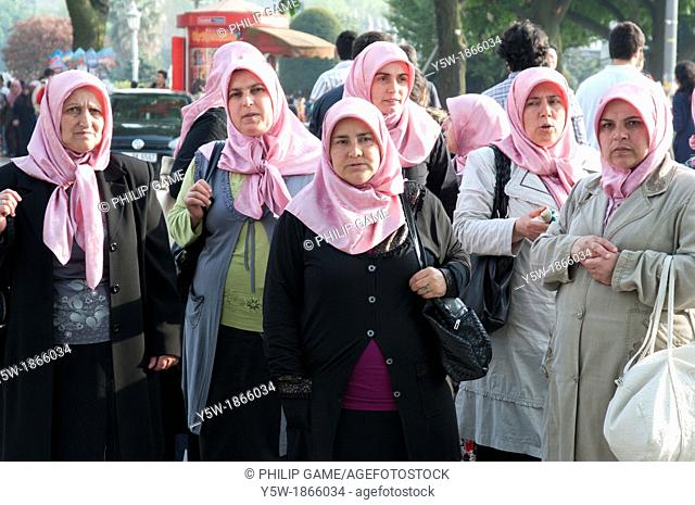 Turkish Muslim women gathered at a park in Sultanahmet, Istanbul